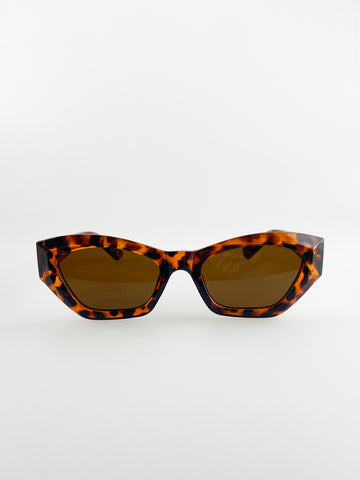 Angled Sunglasses In Tortoise Shell