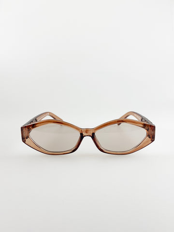 Cateye Sunglasses In Light Brown With Panther Badge