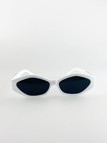 Cateye Sunglasses In White With Panther Badge