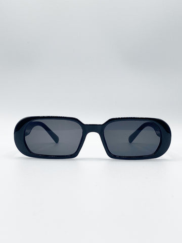 Retro Rectangle Sunglasses In Black