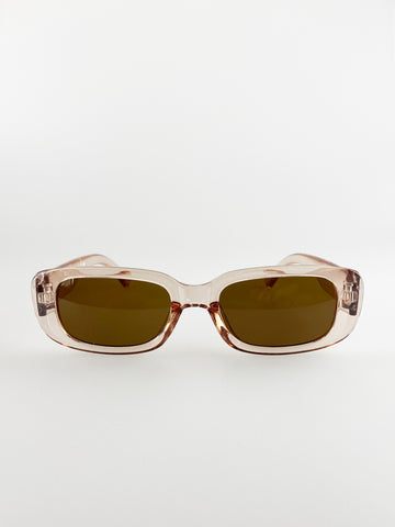 Retro Rectangle Sunglasses In Light Brown
