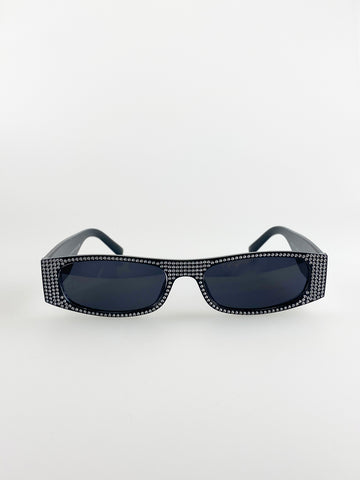 Embellished Rectangle Sunglasses In Black