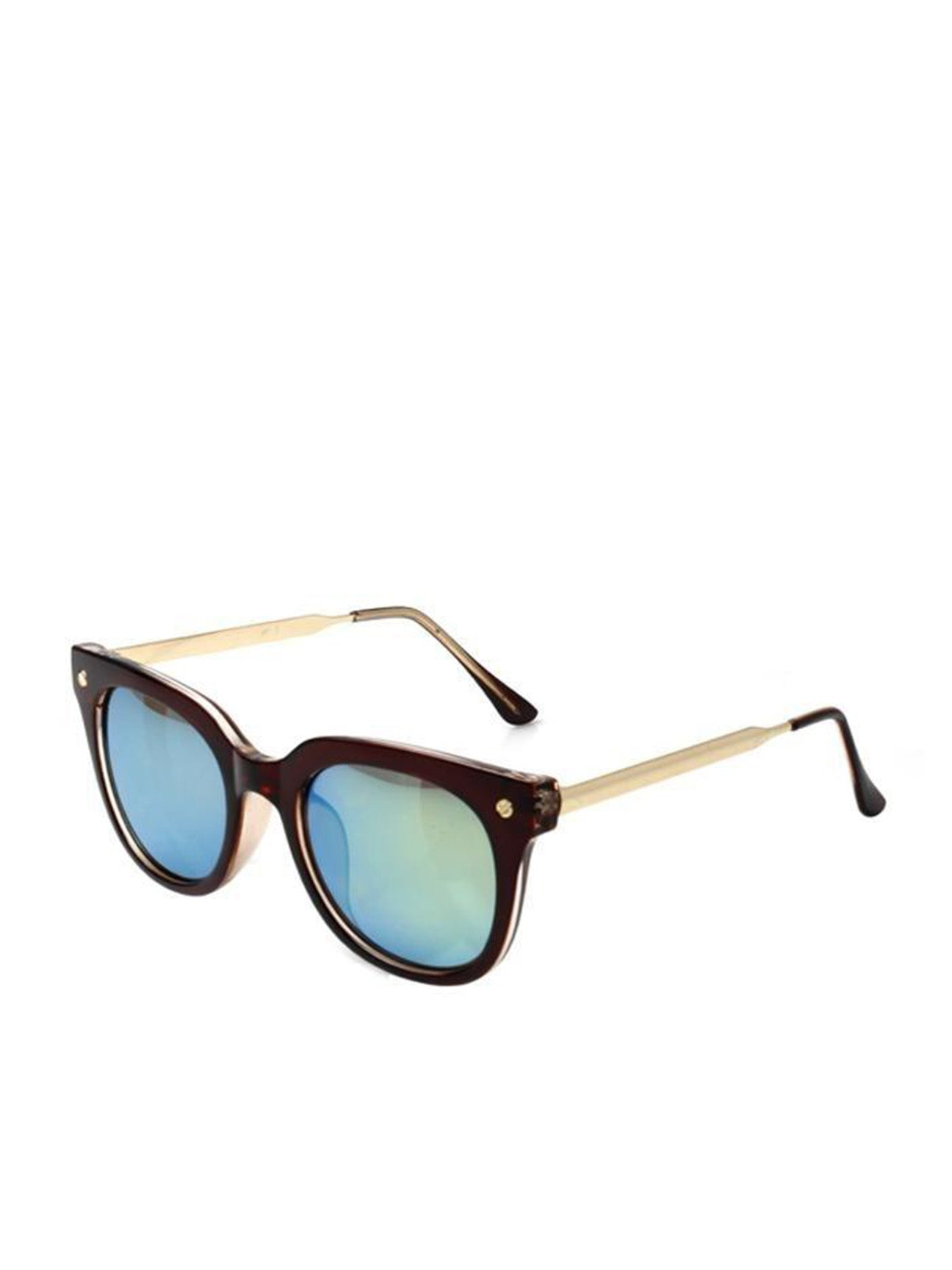 Black Wayfarer With Gold Metal Arms and Blue Revo Lenses