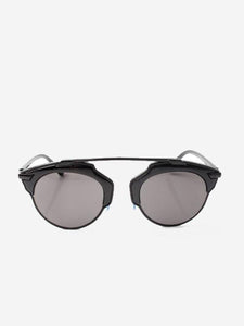 Black Metal Frame Sunglasses With Black High Brow and Blue Inner Nose Detail - Accent Fashion Accessories