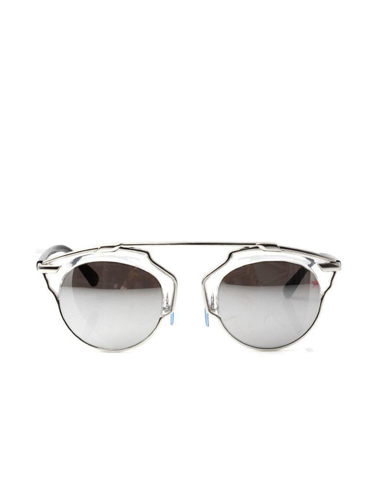 Silver Round Cut Out Frame Sunglasses with Black Arms and Silver Revo Lenses