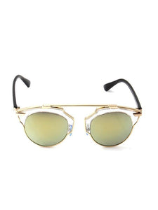 Gold Round Sunglasses with Black Arms and Gold Revo Lenses