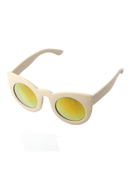 Oversized Cat Eye Sunglasses With Beige Frame with Gold Lenses