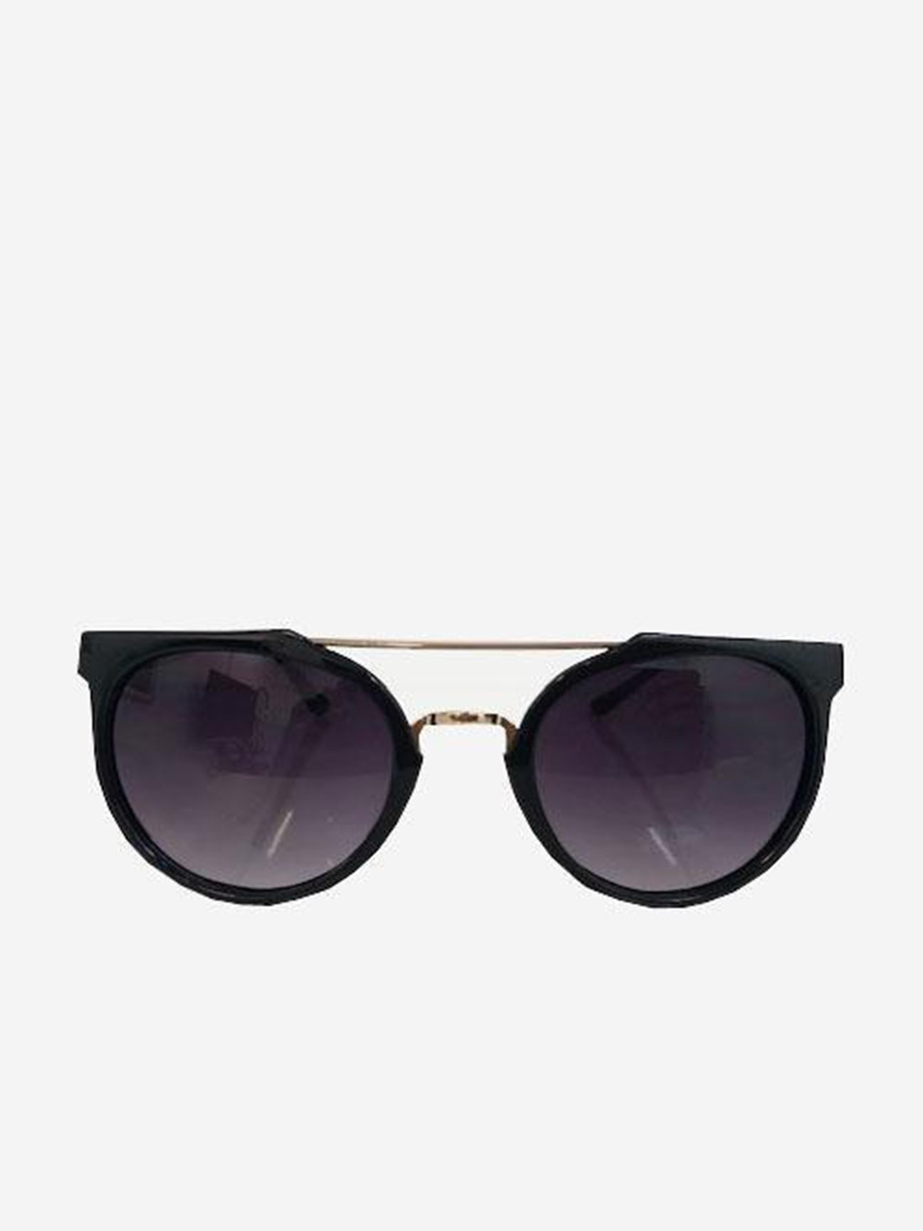 Rounded retro sunglasses with gold legs and double bridge in shine frame