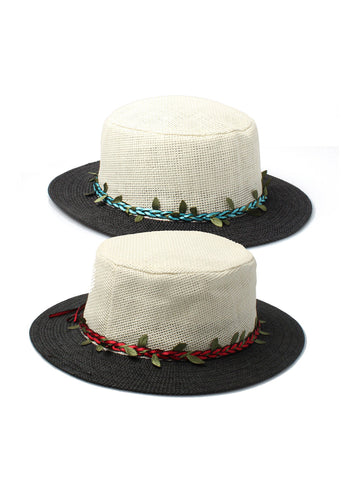 Cream and Black Ladies Boater hat with Pleated Leaf Band WAS £2.99 NOW £1.50