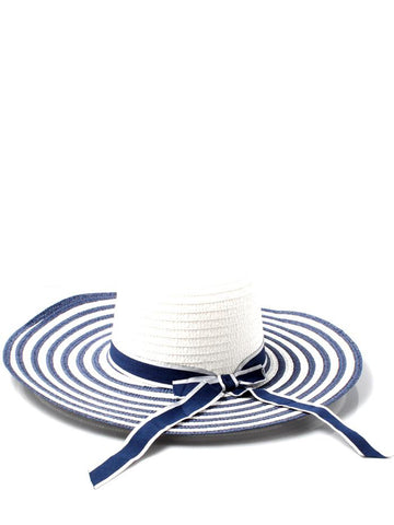 Stripey Wide Brim Straw Hat with Ribbon Bow Detail
