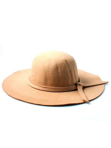 PolyCotton Ladies Camel Floppy Fedora Hat with Knotted Band Detail