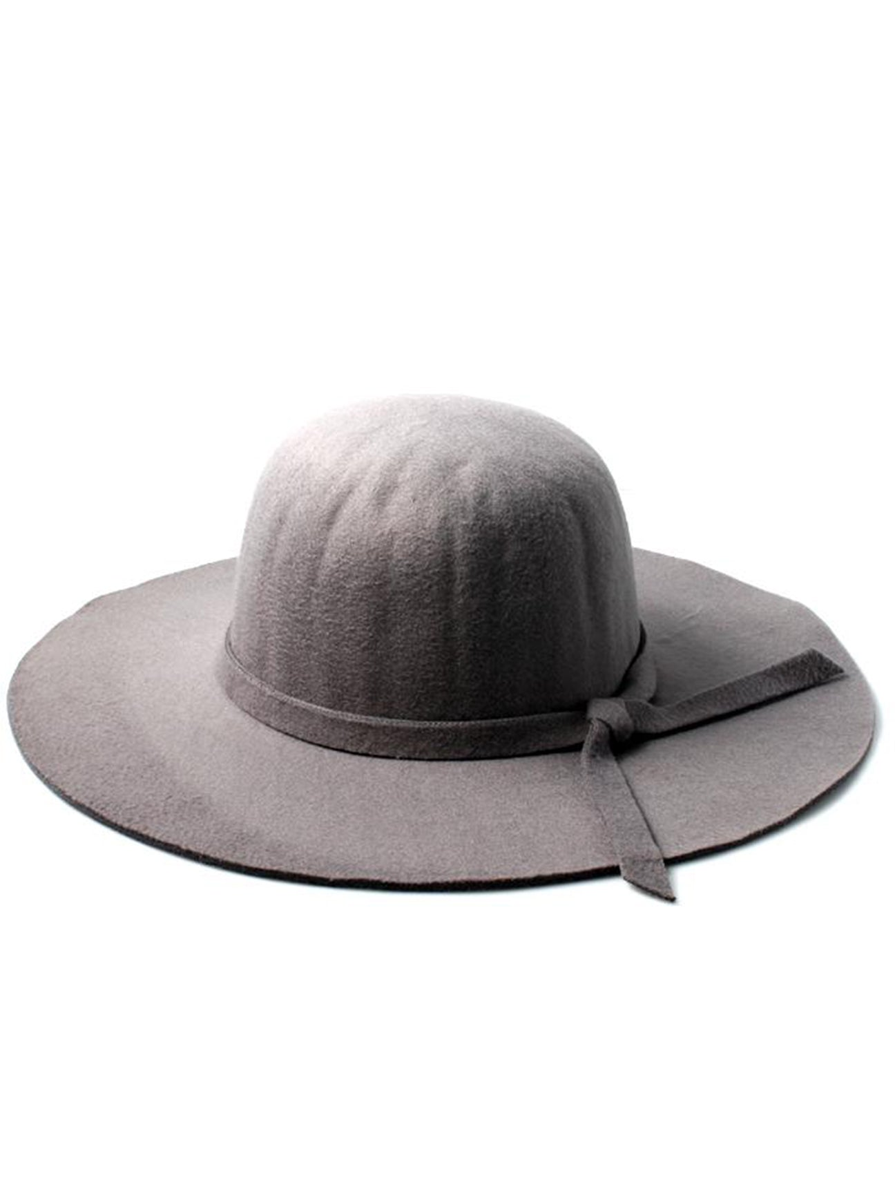 PollyCotton Ladies Grey Floppy Fedora Hat with Knotted Band Detail