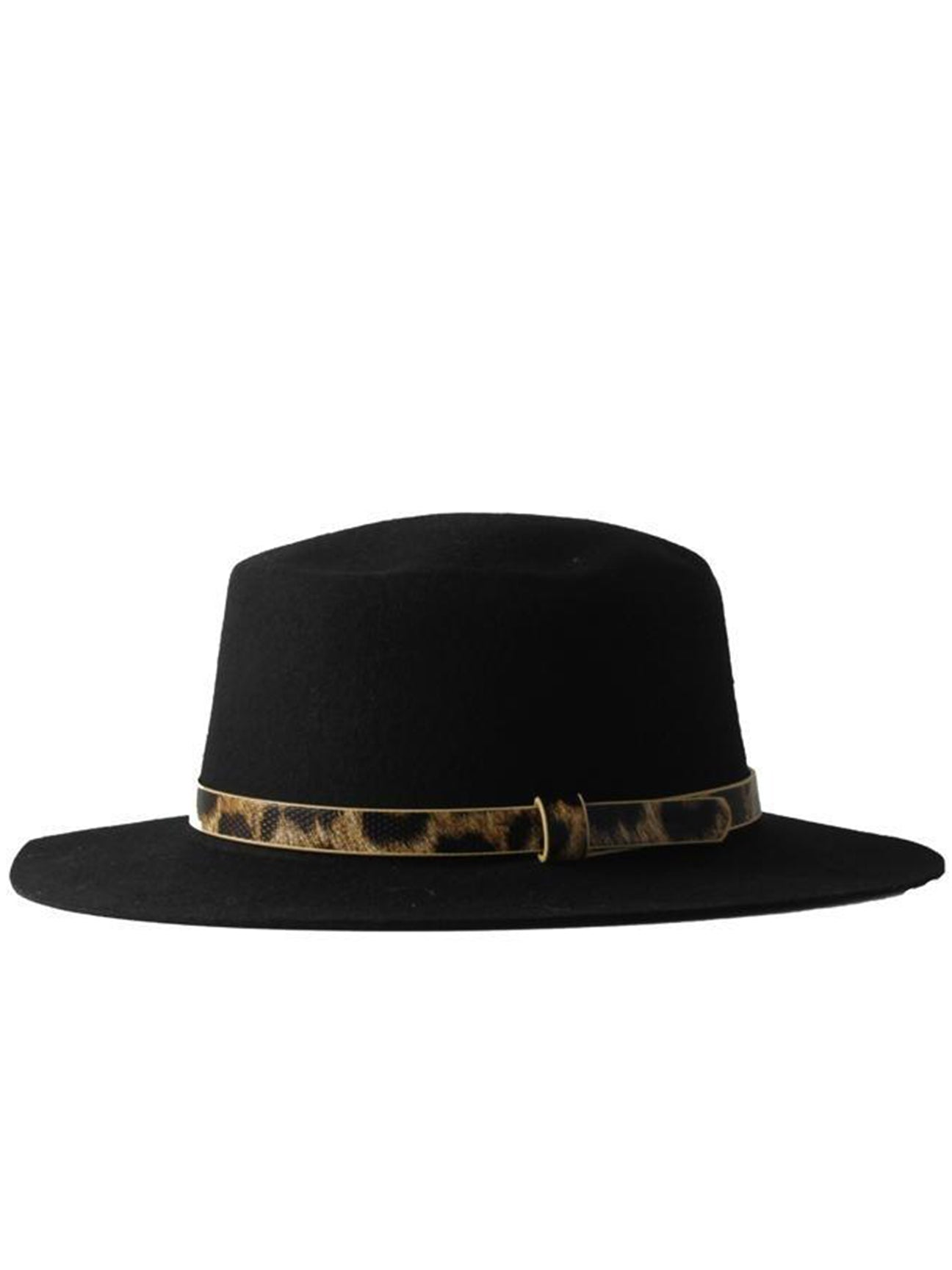 Beautiful 100% Wool Black Fedora Hat with PU Leopard Print Band