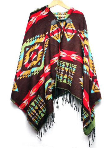 Brown Aztec Print Cape with Hood
