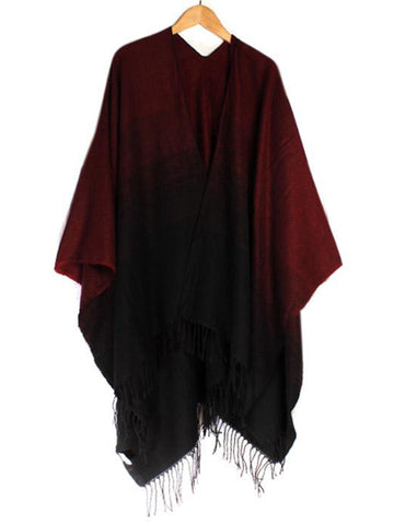 Dark Red and Black Dip Dye Style Wrap with Fringing