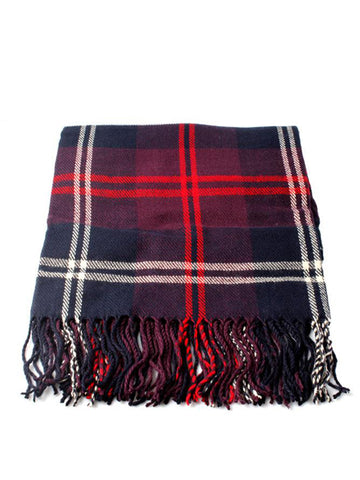 Navy and Red Check Tartan Look Scarf With Fringed Hem