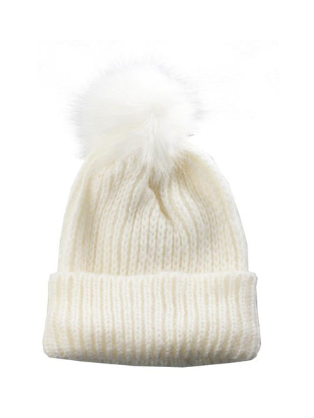 White Knitted Beanie Hat with White PomPom