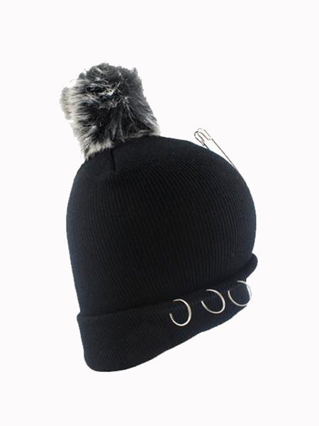 Black Pom Pom Beanie with metal ring detail