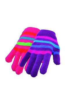Bright Gloves with Contrast Stripes