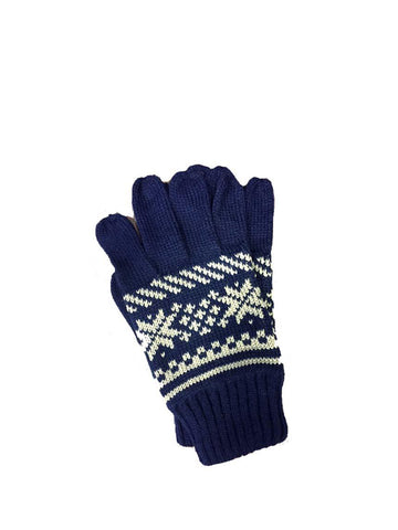 Navy with Cream Fair-Isle Pattern Gloves