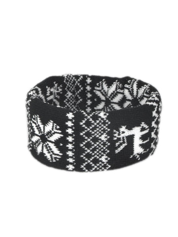 Black and White Snowflake Fair-Isle Design Extra Wide Headband