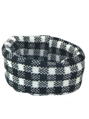 Black, White and Grey Checked Design Extra Wide Headband