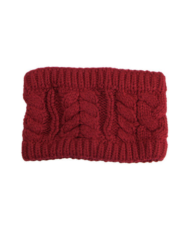 Red Cable Knitted Headband