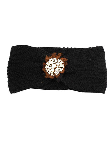 Black Knitted Headband With Pearl and Gem Flower