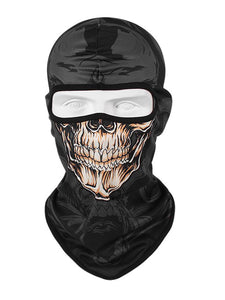 Full Head and Face Skull Balaclava - Black, Yellow and Grey