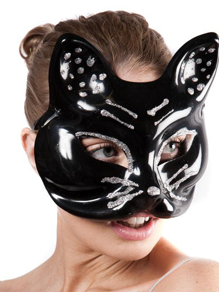 Black Plastic Cat Face Mask With Silver Glitter Detail And Ribbon Back Fastening