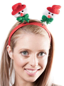 Xmas Headband with Attached Snowman