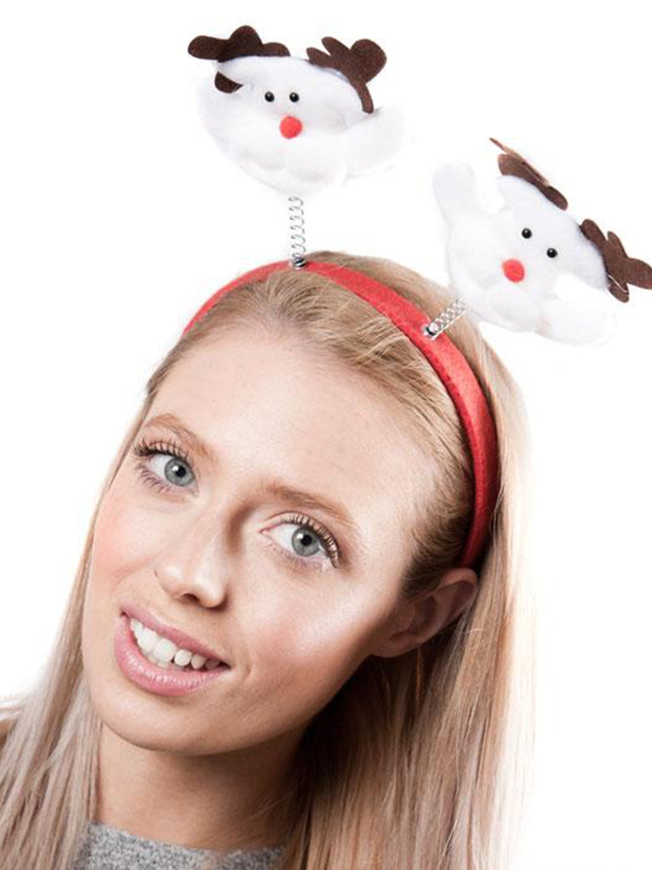 Xmas Headband with Attached White Reindeers