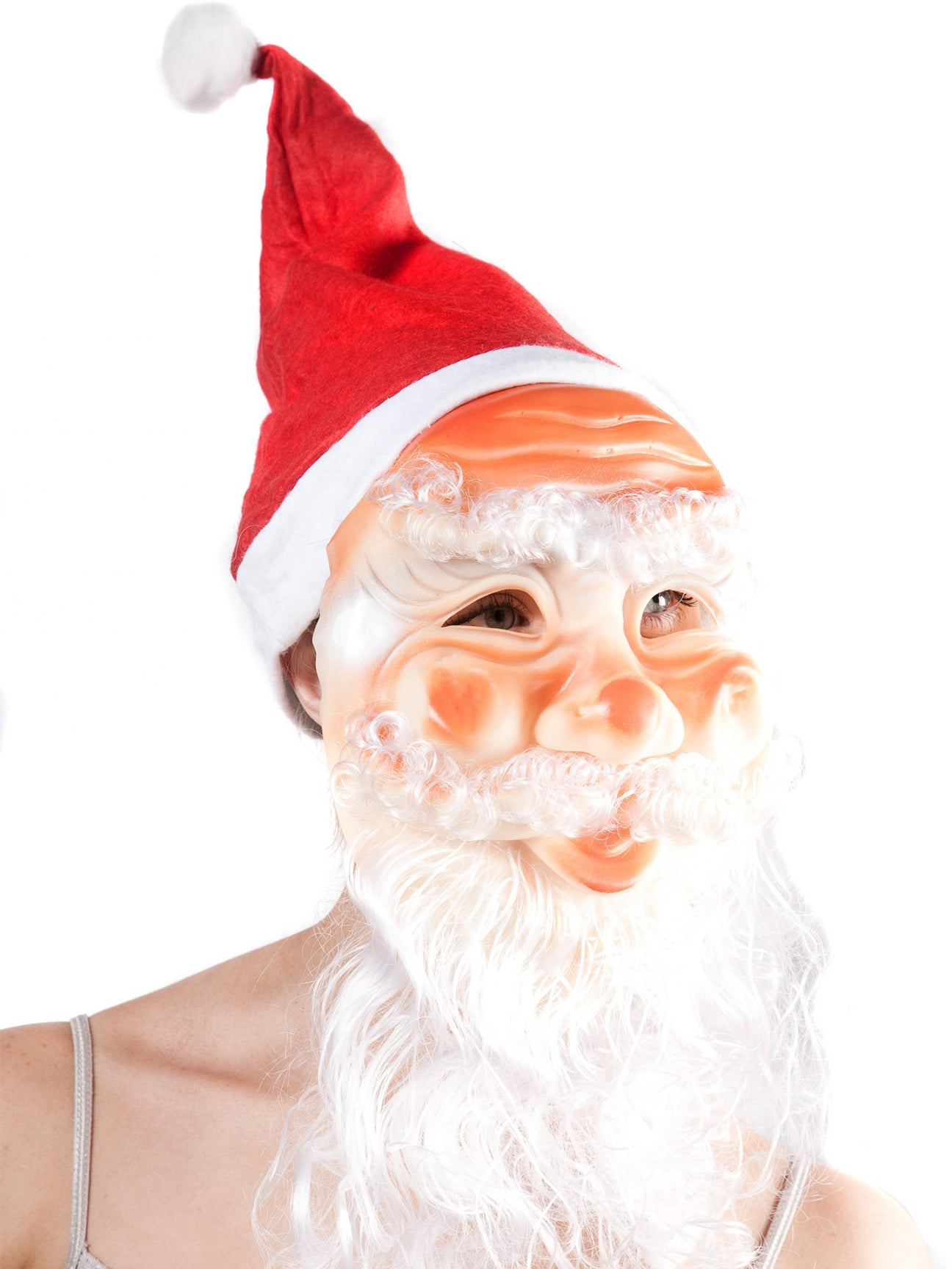 Christmas Santa Hat with attached Face Mask and Beard