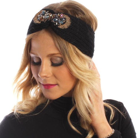 Black Knitted Headband With Jewel Detail - Accent Fashion Accessories