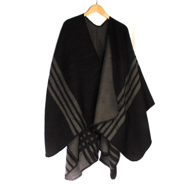 Black with Grey Stripe Reversible Wrap - Accent Fashion Accessories