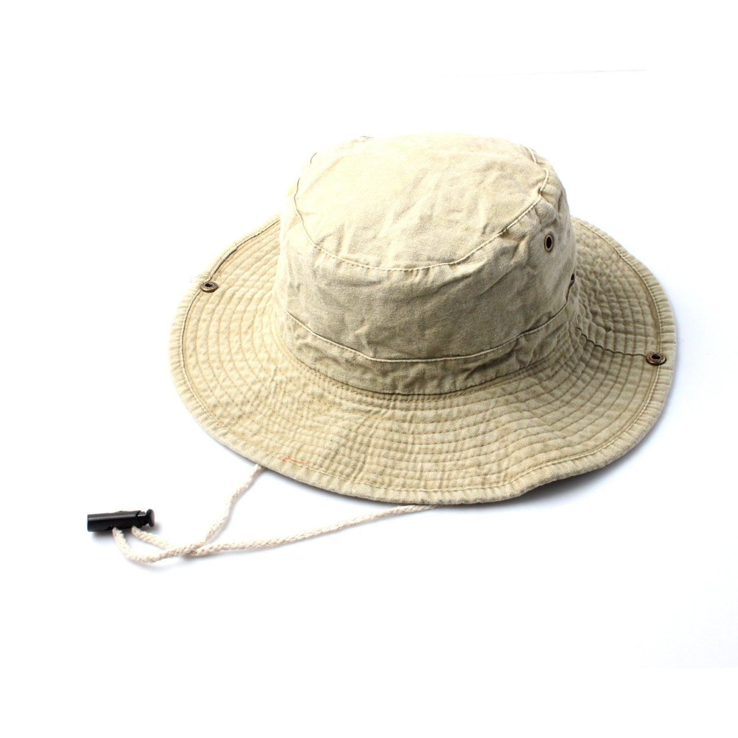 Beige Distressed Denim Look Safari Bucket Hat with Toggle Adjuster - Accent Fashion Accessories