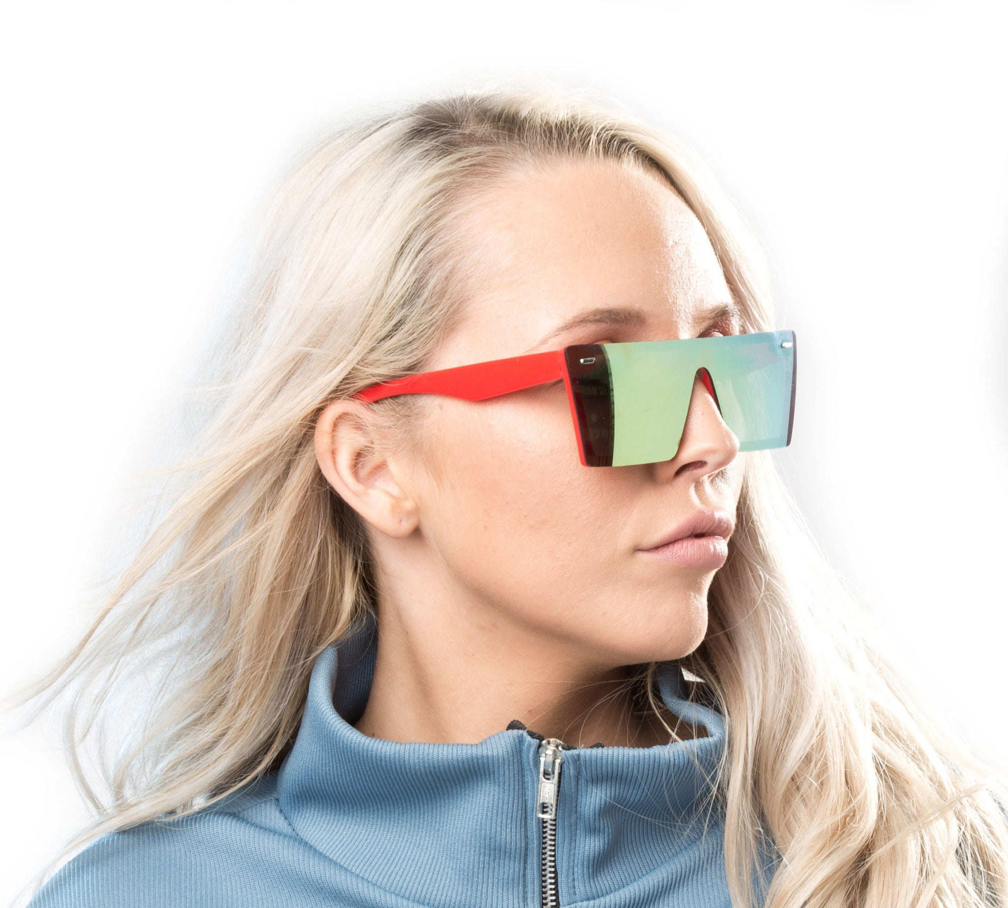Frameless angular visor sunglasses with orange revo lenses