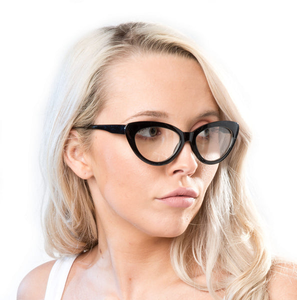 Black Cat Eye Sunglasses with clear lenses - Accent Fashion Accessories
