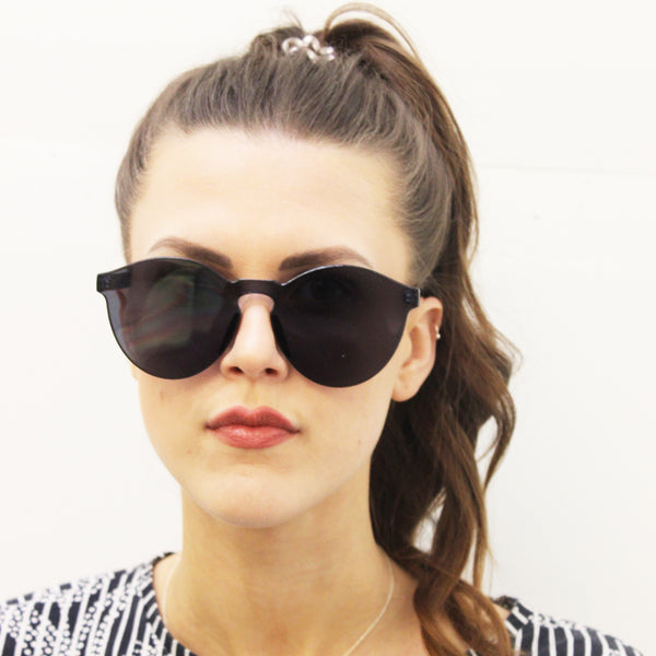 Frameless Chunky Flat Lense Black Sunglasses