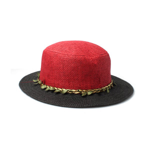 Ladies Boater hat with Pleated Leaf Band - Accent Fashion Accessories