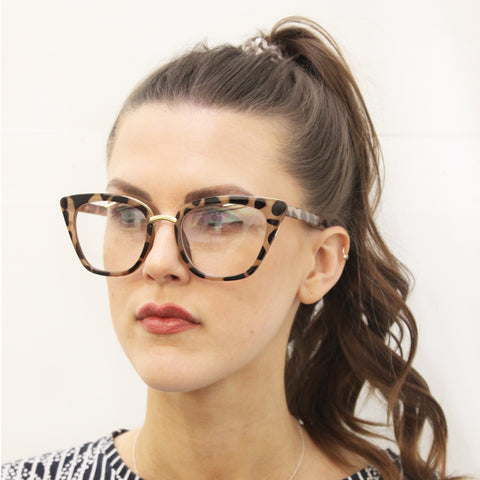 Brown tortoise Cat Eye Sunglasses with Clear lenses