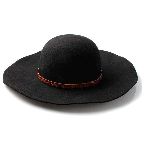 Beautiful 100% Wool Ladies Black Floppy Fedora Hat with PU Snakeshin Band - Accent Fashion Accessories