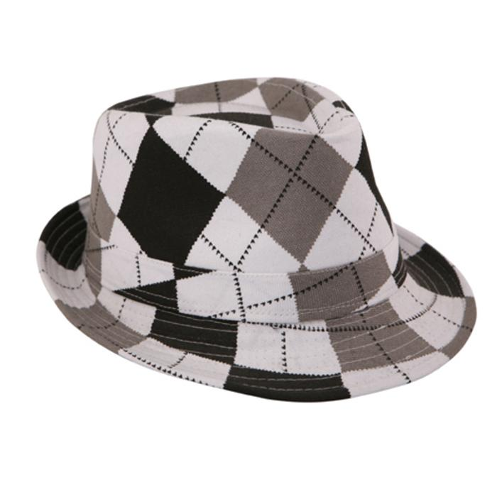 White and Black Tartan Trilby Hat - Accent Fashion Accessories
