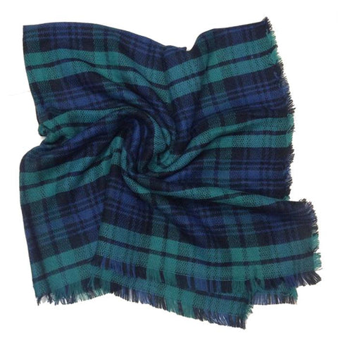 Green and Navy Tartan Scarf - Accent Fashion Accessories