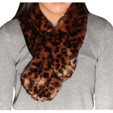Brown and Black Leopard Print Faux Fur Stole - Accent Fashion Accessories