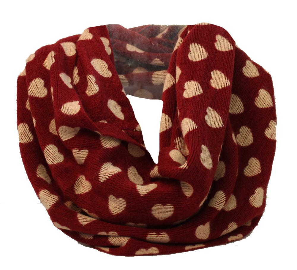 Wine with Cream Heart Print Super Soft Snood - Accent Fashion Accessories