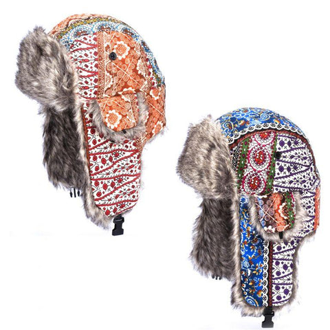 Colourful Patterned Trapper Hats - Accent Fashion Accessories