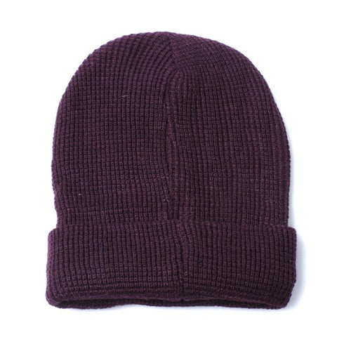 Deep Purple Honeycombe Texture Knitted Beanie Hat - Accent Fashion Accessories