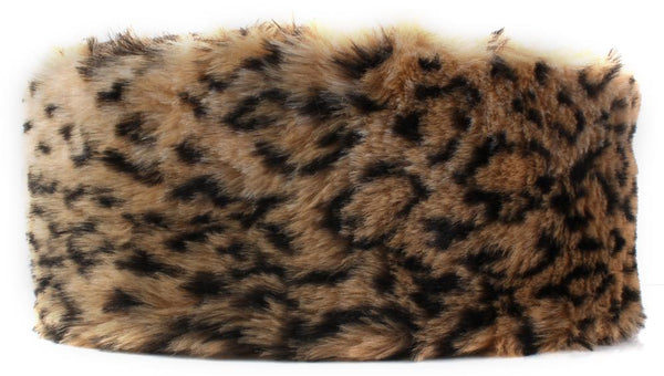 Brown Leopard Print Faux Fur Headband - Accent Fashion Accessories