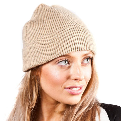 Beige Fine Rib Knitted Fisherman Beanie Hat - Accent Fashion Accessories